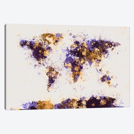 Paint Splashes World Map Canvas Print #8956} by Michael Tompsett Canvas Art Print