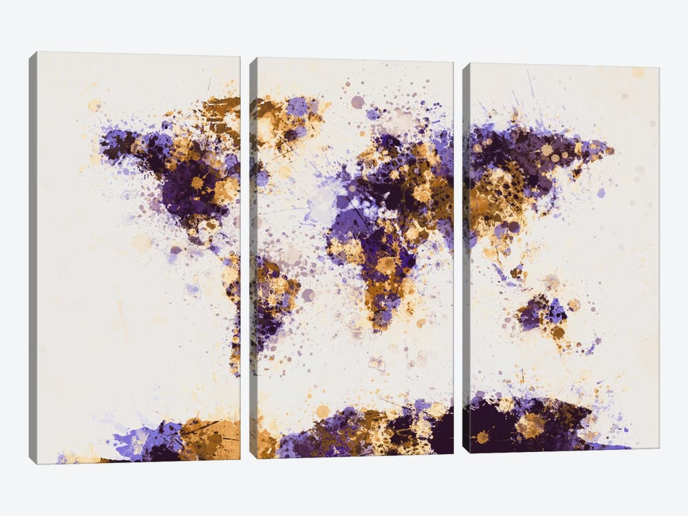 Paint Splashes World Map by Michael Tompsett 3-piece Canvas Wall Art