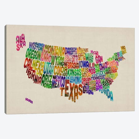 USA (States) Typographic Map VI Canvas Print #8957} by Michael Tompsett Art Print