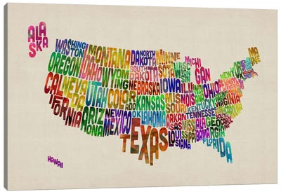 USA (States) Typographic Map VI Canvas Art Print