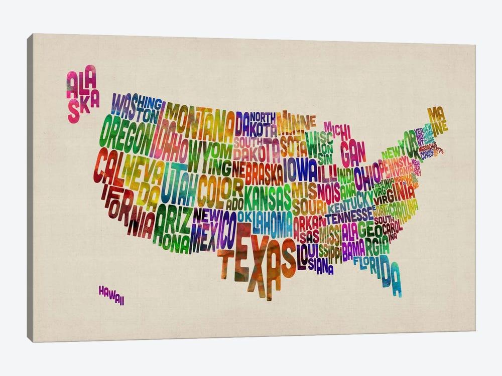 USA (States) Typographic Map VI by Michael Tompsett 1-piece Art Print