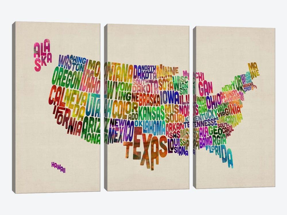 USA (States) Typographic Map VI by Michael Tompsett 3-piece Art Print