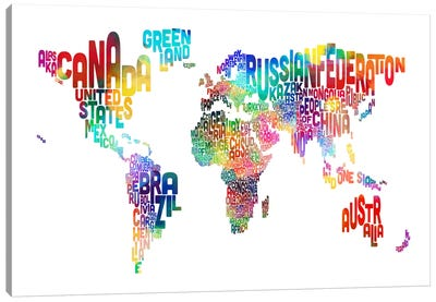 World (Countries) Typographic Map Canvas Print #8958