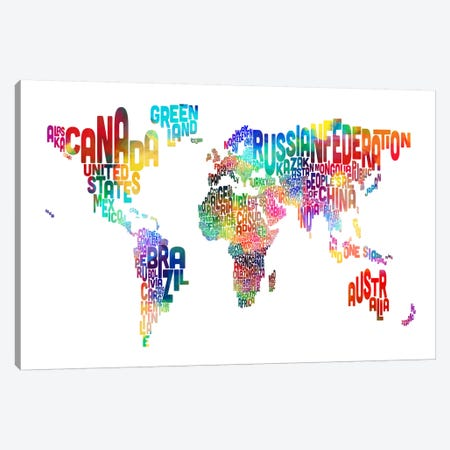 World (Countries) Typographic Map Canvas Print #8958} by Michael Tompsett Canvas Artwork
