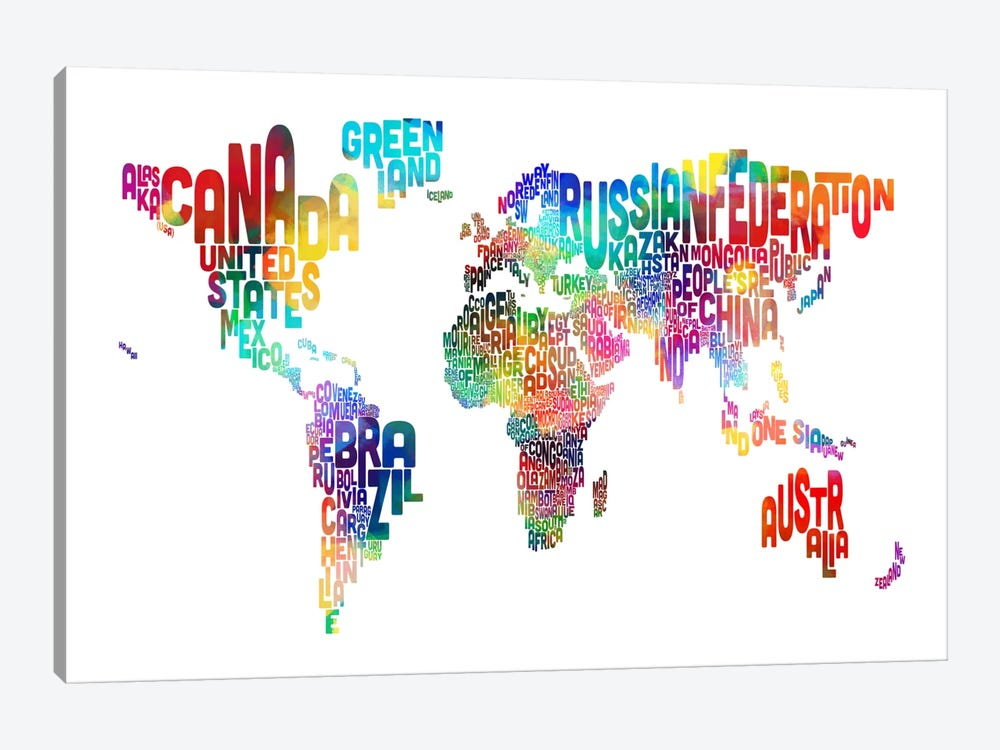 World (Countries) Typographic Map by Michael Tompsett 1-piece Canvas Artwork