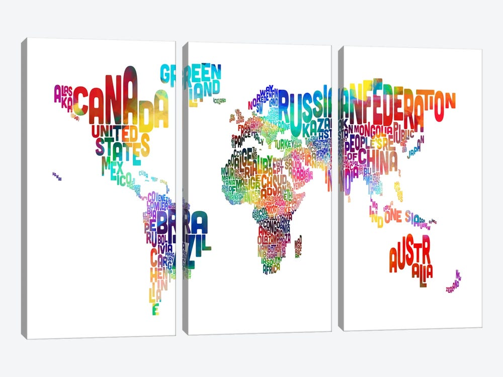 World (Countries) Typographic Map by Michael Tompsett 3-piece Canvas Art