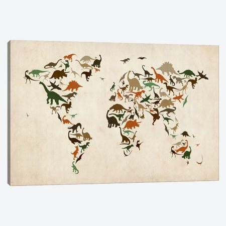 Dinosaurs Map of the World III Canvas Print #8959} by Michael Tompsett Canvas Art