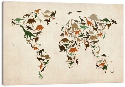 Dinosaurs Map of the World III Canvas Art Print