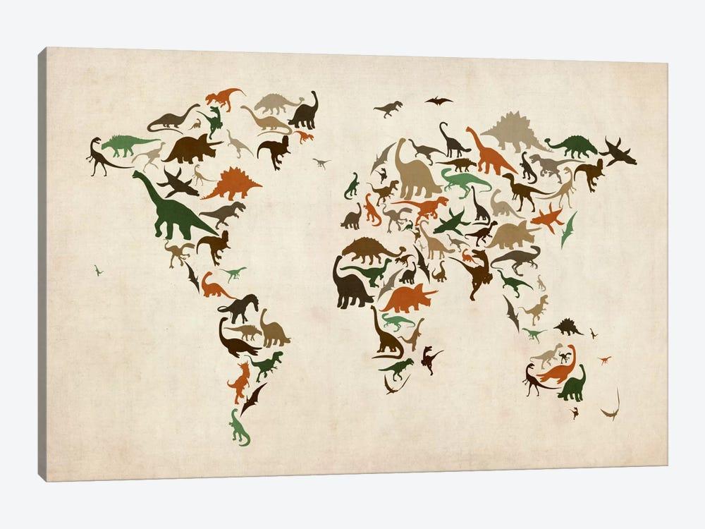 Dinosaurs Map of the World III by Michael Tompsett 1-piece Canvas Art Print