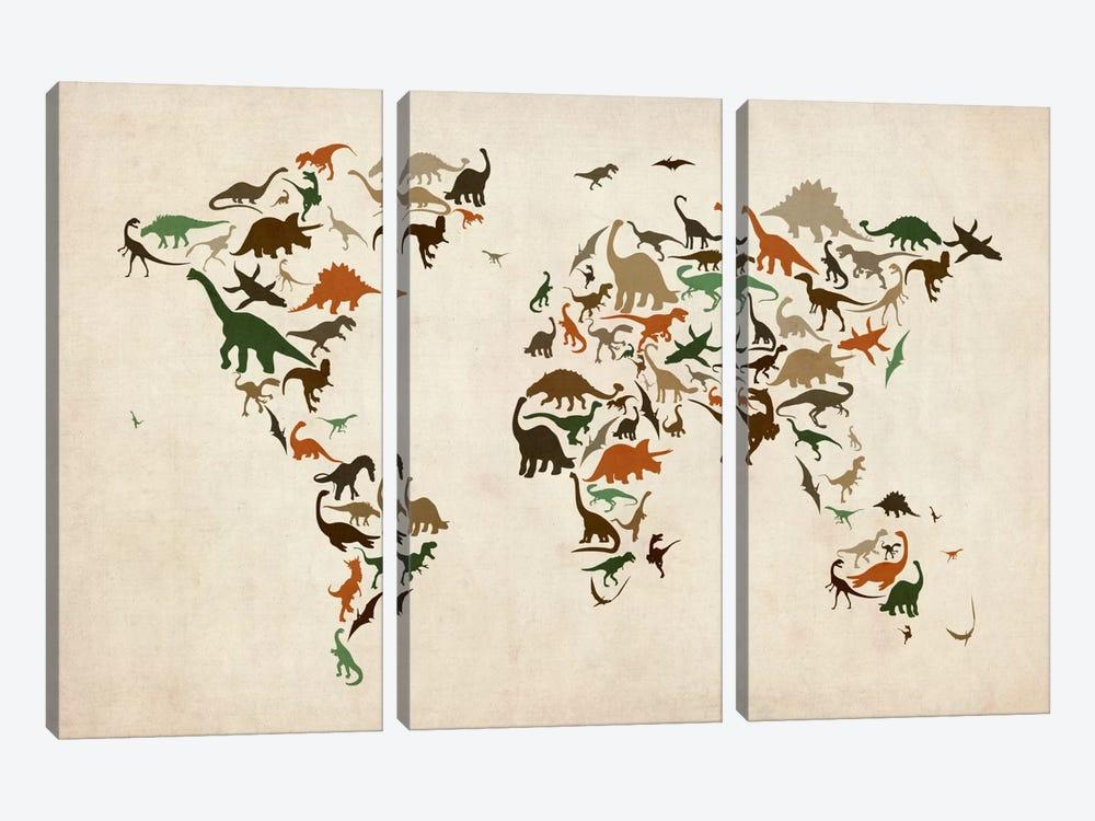 Dinosaurs Map of the World III by Michael Tompsett 3-piece Art Print