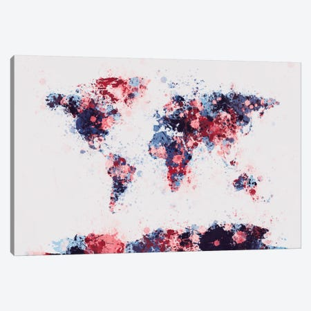 World Map Paint Drops II Canvas Print #8960} by Michael Tompsett Art Print