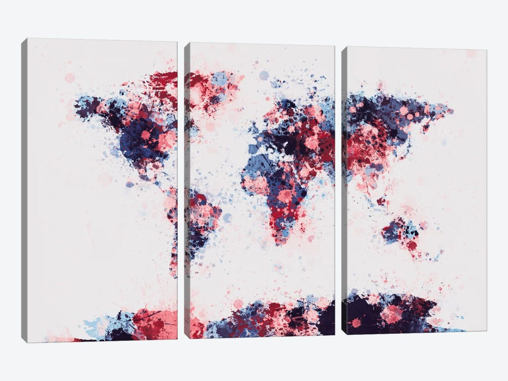 World Map Paint Drops II by Michael Tompsett 3-piece Art Print