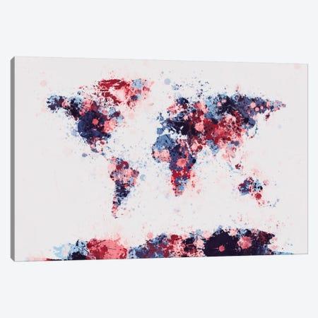 World Map Paint Drops II Canvas Print #8960} by Michael Tompsett Art Print