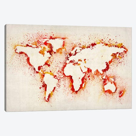 Map of The World (Purple) Paint Splashes II Canvas Print #8961} by Michael Tompsett Art Print