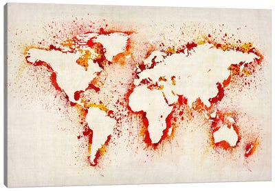 Map of The World (Purple) Paint Splashes II Canvas Print #8961