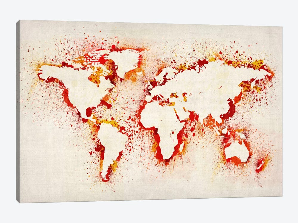 Map of The World (Purple) Paint Splashes II by Michael Tompsett 1-piece Canvas Wall Art
