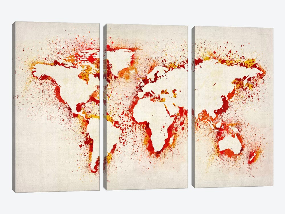 Map of The World (Purple) Paint Splashes II by Michael Tompsett 3-piece Canvas Wall Art