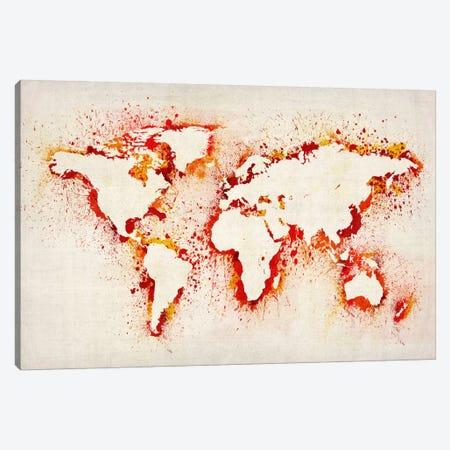 Map of The World (Purple) Paint Splashes II Canvas Print #8961} by Michael Tompsett Art Print