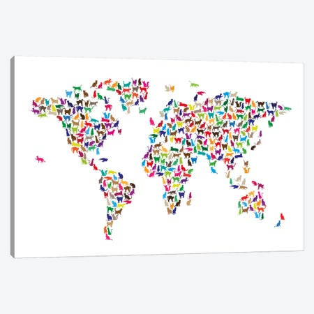 Cats World Map Canvas Print #8962} by Michael Tompsett Canvas Art Print