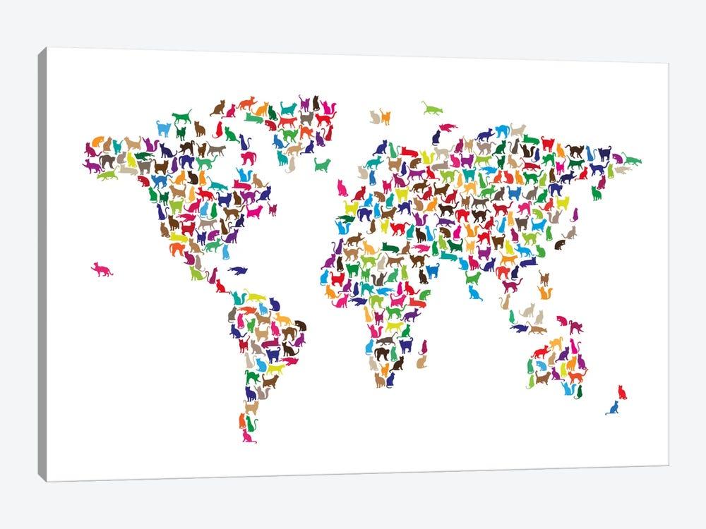 Cats World Map by Michael Tompsett 1-piece Art Print