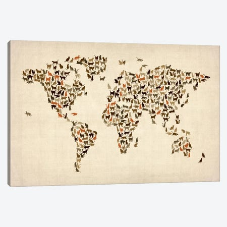 Cats World Map II Canvas Print #8963} by Michael Tompsett Canvas Print
