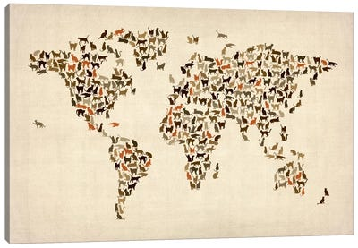 Cats World Map II Canvas Art Print