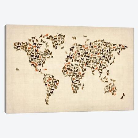 Cats World Map II Canvas Print #8963} by Michael Tompsett Canvas Print
