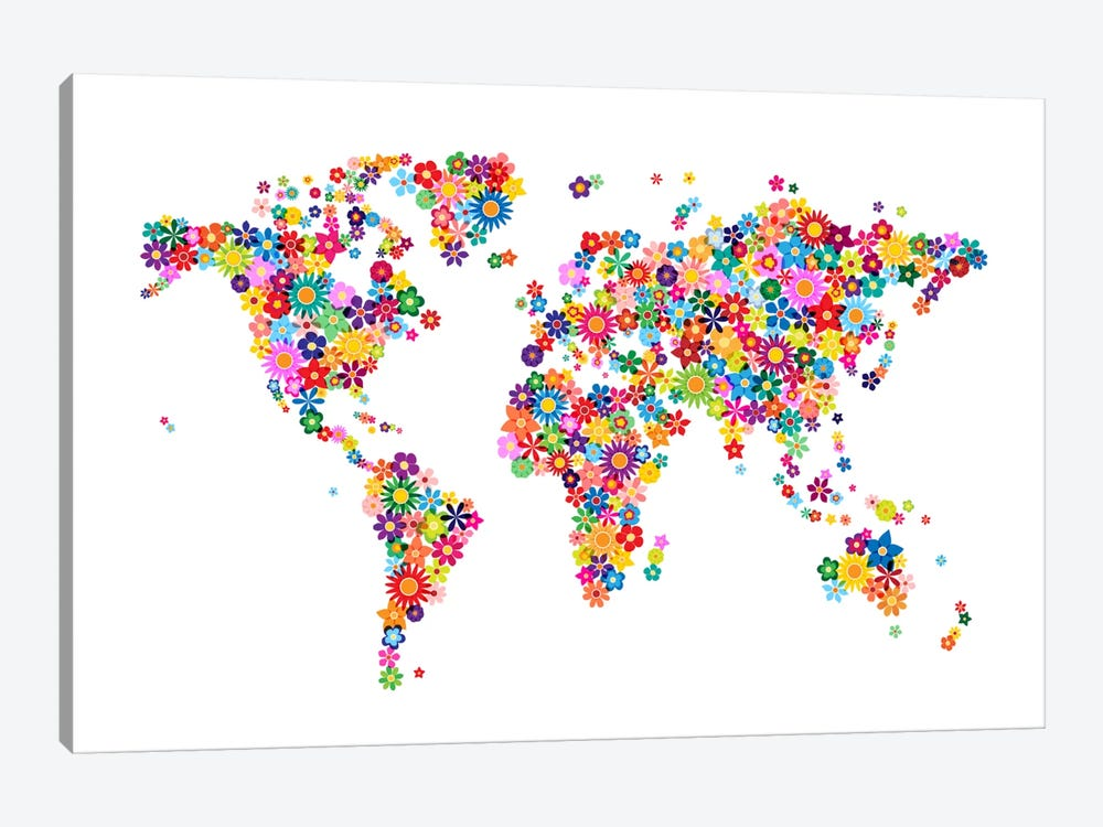 Flowers World Map by Michael Tompsett 1-piece Art Print