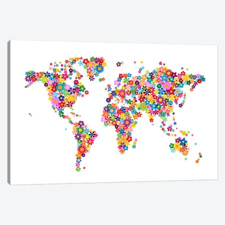 Flowers World Map Canvas Print #8964} by Michael Tompsett Canvas Artwork