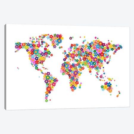 Flowers World Map Canvas Print #8964} by Michael Tompsett Canvas Artwork