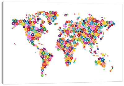Flowers World Map Canvas Art Print