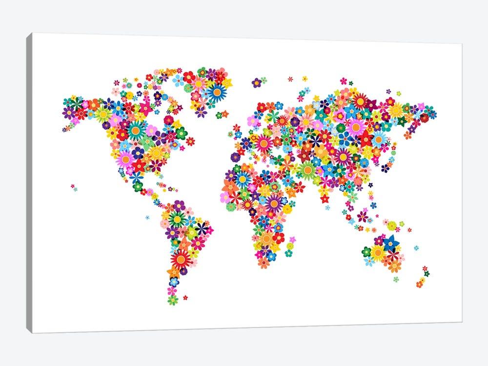Flowers World Map by Michael Tompsett 1-piece Art Print