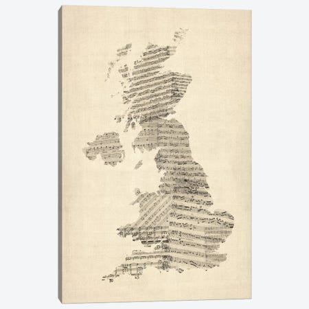Great Britain Music Map II Canvas Print #8965} by Michael Tompsett Canvas Artwork