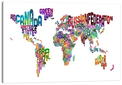 World (Countries) Typographic Map II Canvas Print #8966