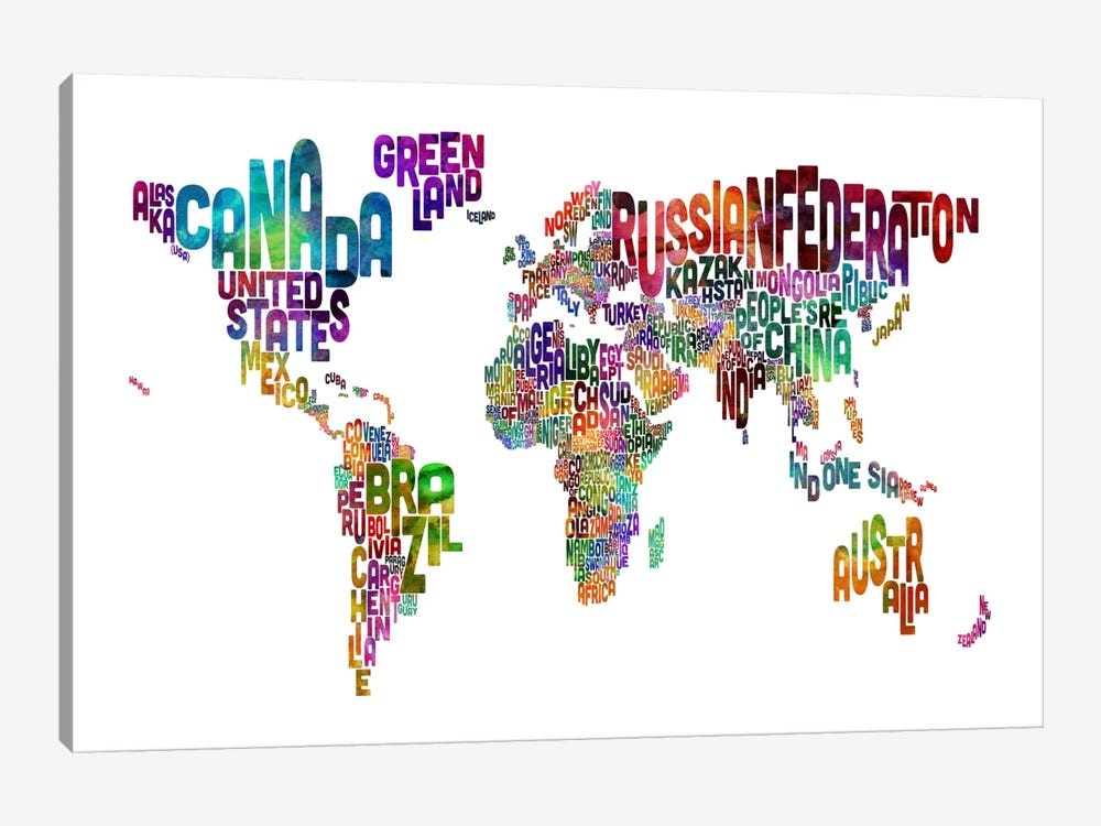 World (Countries) Typographic Map II by Michael Tompsett 1-piece Canvas Art Print