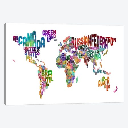 World (Countries) Typographic Map II Canvas Print #8966} by Michael Tompsett Canvas Artwork