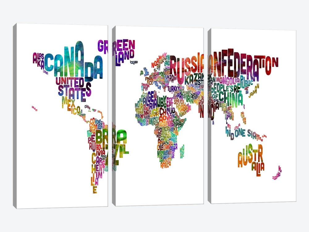 World (Countries) Typographic Map II by Michael Tompsett 3-piece Art Print