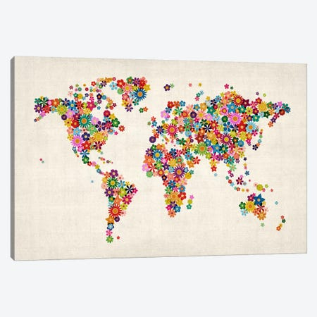 Flowers World Map II Canvas Print #8967} by Michael Tompsett Canvas Artwork