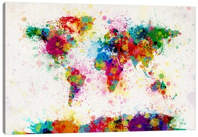 World Map Paint Drops III Canvas Art Print