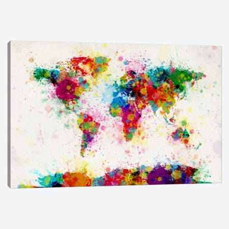 World Map Paint Drops III Canvas Print #8968} by Michael Tompsett Canvas Print