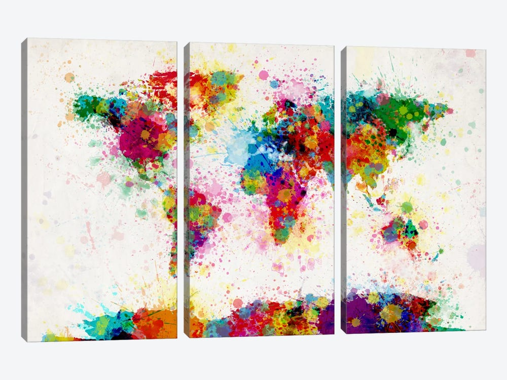 World Map Paint Drops III 3-piece Canvas Print