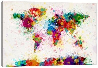 World Map Paint Drops III Canvas Art Print