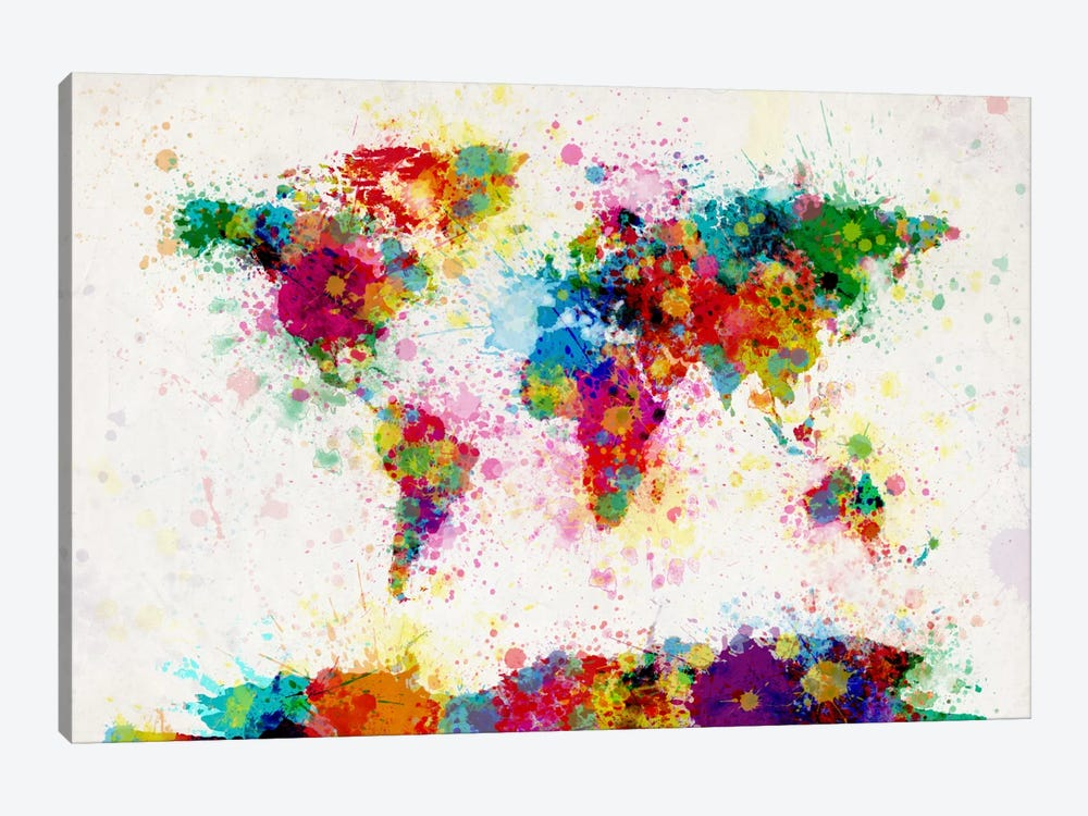 World Map Paint Drops III by Michael Tompsett 1-piece Canvas Art Print