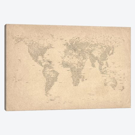 World Map of Cities II Canvas Print #8969} by Michael Tompsett Art Print