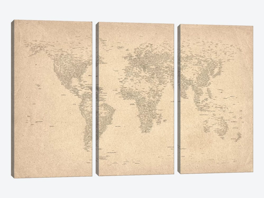World Map of Cities II by Michael Tompsett 3-piece Canvas Artwork