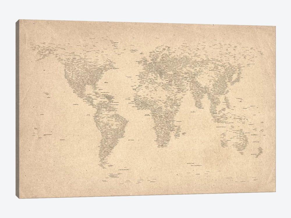 World Map of Cities II by Michael Tompsett 1-piece Canvas Art