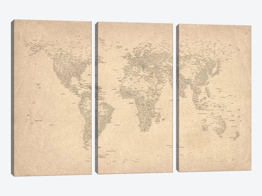 World Map of Cities II by Michael Tompsett 3-piece Canvas Artwork
