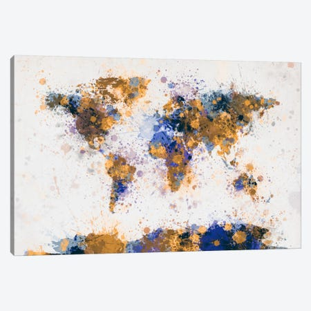 World Map Paint Drops IV Canvas Print #8970} by Michael Tompsett Canvas Wall Art