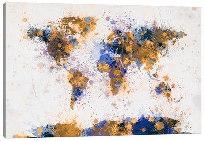 World Map Paint Drops IV Canvas Print #8970
