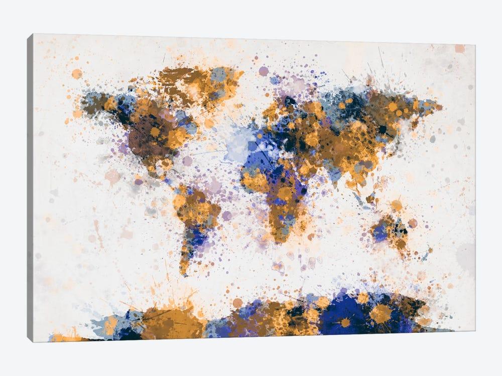 World Map Paint Drops IV by Michael Tompsett 1-piece Canvas Art